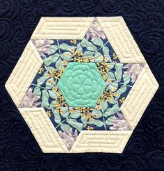 """""""Kaleido-spinner"""" runner, based on Heather Peterson's Spinners block, by Dawn at First Light Designs. Quilted by Debbie Scroggy Hexagon Quilt, Quilt Block Patterns, Hexagons, Pattern Blocks, Quilt Blocks, Quilting Ideas, Quilting Designs, One Block Wonder, Kaleidoscope Quilt"""