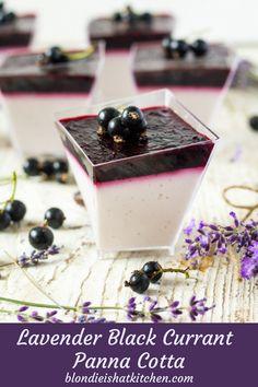 Lavender Black Currant Panna Cotta Yogurt panna cotta made from lavender with black currant jelly #lavenderblackcurrantpannacotta #yogurtpannacotta #lavenderpannacotta #lavenderblackcurrant #lavendercurrant #blackcurrantjelly