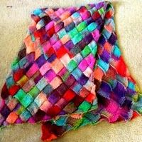 """Lady Eleanor Entrelac Stole by Kathleen Power Johnson from Interweave Knits' """"Scarf Style""""; page 52"""