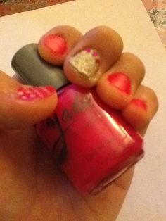 Did a cute nail design with pink and gold nail polish. Hope u like it!:)