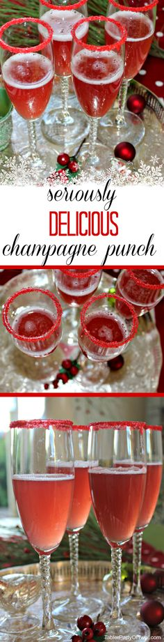 Seriously Delicious Champagne Punch easy to make, beautiful and a total crowd pleaser! This recipe may be the most amazing treat to my tastebuds in all Yes, it's a holiday champagne punch, and I kid you not. it is SERIOUSLY delicious! Christmas Cocktails, Holiday Cocktails, Cocktail Drinks, Fun Drinks, Yummy Drinks, Cocktail Recipes, Beverages, Drinks Alcohol, Christmas Punch Alcohol Champagne