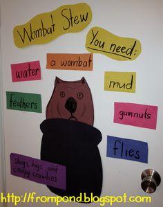 Wombat Stew writing a procedure lesson for kindergarten Teaching Procedures, Teaching Kindergarten, Teaching Writing, Teaching English, Preschool, English Activities, Classroom Activities, Book Activities, Math Classroom