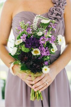 DIY  purple bridesmaid bouquet.