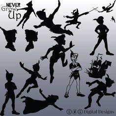 12 Peter Pan Silhouette Digital Clipart by OMGDIGITALDESIGNS