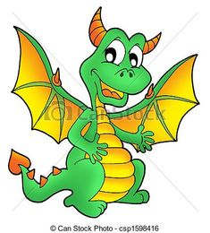 Stock Illustration - Cute green dragon - stock illustration, royalty free illustrations, stock clip art icon, stock clipart icons, logo, line art, pictures, graphic, graphics, drawing, drawings, artwork