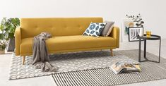 Cosy Living, Cozy Living Rooms, Living Room Decor, Sofa Design, Sofa Bed Living Room, Sofa Beds, Couches, Salons Cosy, Yellow Sofa