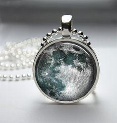 Round Glass Bezel Pendant Moon Pendant Moon by IncrediblyHip, $8.00