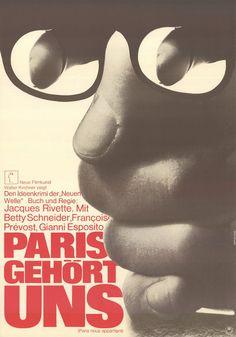 "Paris gehört uns (Originaltitel: Paris nous appartient), Spielfilm, Frankreich, 1961. Regie: Jacques Rivette. Filmplakat des Verleihers ""Neue Filmkunst Walter Kirchner"". Plakatgestaltung: Hans Hillmann."