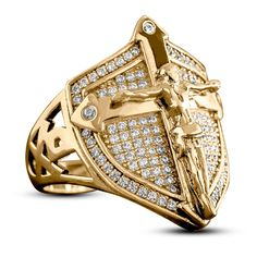 Buy Exquisite Personality Solid Gold Mens Rings Son of God Christian Savior Jesus Crucifixion Cross Diamond Jewelry 2020 Newest Shield Shape Wedding Band Hip Hop Men Punk Accessory Ring Gift for Boyfriend Size at Wish - Shopping Made Fun Men's Jewelry Rings, Cross Jewelry, Viking Jewelry, Jewelry Gifts, Diamond Jewelry, Jewellery, Gold Man, Estilo Hip Hop, Black Rings