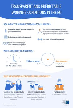 Gig economy: EU law to improve workers' rights (infographic) Transparent and predictable working conditions in the EU European Parliament, Workers Rights, Social Policy, Flexible Working, New Employee, Health And Safety, Family Life, Vulnerability, Law