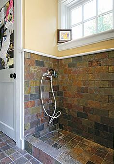 Bathing Your Dog - Full shower in the mudroom - now if we could somehow add a baby gate or something to keep them in we're there! Description from pinterest.com. I searched for this on bing.com/images