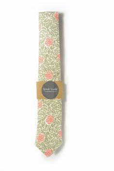 green and orange flowers men tie, cotton laid back necktie