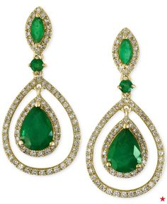 Reminiscent of Old Hollywood, these emerald & diamond EFFY drop earrings add a touch of romance to any night out!