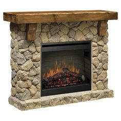 Reminiscent of 19th century craftsmanship, this handsome electric fireplace features natural stone and hand-hewn pine mantel.  Product: ...