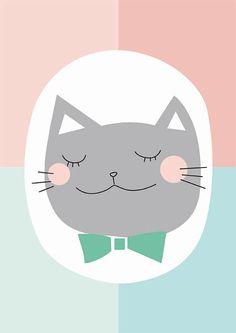Nursery poster Kids Wall Art Nursery Decor Grey cat por Buul