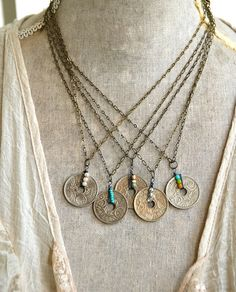 Vintage French Bohemian coin necklace/coin necklace/boho