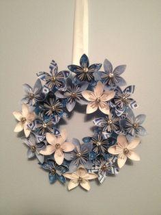 "Blue Origami/Kusudama Christmas Paper Flower Wreath 10"". 32.00, via Etsy."