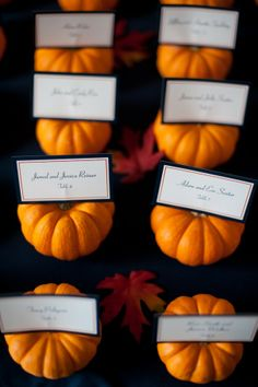 Mississippi Fall Wedding Ideas- Use small pumpkins as place card holders.
