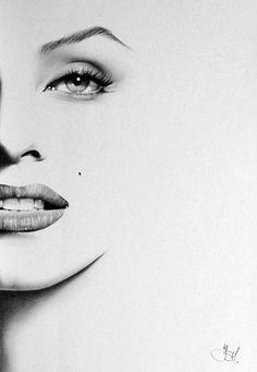 Marilyn Monroe minimalismo lápiz dibujo arte retrato firmado