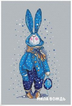 Rabbit in sweater, DMC Cross Stitch Chart Needlepoint Pattern Embroidery Chart Printable PDF Instan Dmc Cross Stitch, Cross Stitch Animals, Modern Cross Stitch, Cross Stitch Designs, Cross Stitching, Cross Stitch Embroidery, Simple Embroidery, Needlepoint Patterns, Embroidery Patterns