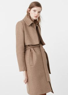 Belt wool coat