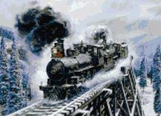 Train in winter cross stitch kit or pattern | Yiotas XStitch