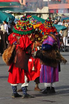 water sellers in the Djemaa el Fna #Morocco