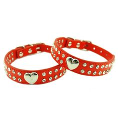 Namsan Medium Puppy Dog cat Doggie Cats Leather Collars Necklaces With Lovely Heart Charm Bling Crystal -Medium-Red -- Details can be found  : Cat Collar, Harness and Leash