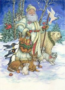 Santa--- Christmas By Donna Race. Vintage Santa in white coat surrounded by animals Christmas Scenes, Christmas Animals, Father Christmas, Santa Christmas, Winter Christmas, Christmas Holidays, Christmas Pillow, Xmas, Primitive Christmas