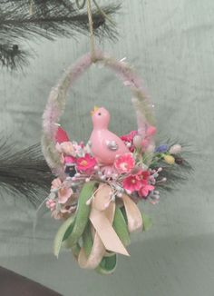 Double sided retro Easter ornament decoration / vintage chick and chenille pastel spring decor by HandPycd on Etsy https://www.etsy.com/listing/503218297/double-sided-retro-easter-ornament