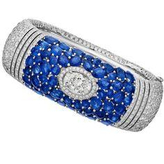 loving the vibrant blue sapphire by . Diamond Bracelets, Gemstone Bracelets, Bangle Bracelets, Jewelry Necklaces, Jewelery, Chanel Official, Chanel Jewelry, Best Diamond, Fine Jewelry