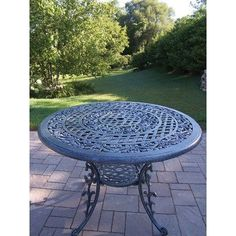 Oakland Living Mississippi Round Outdoor Dining Table in Verdi Grey Teak Outdoor Furniture, Patio Furniture Sets, Living Furniture, New Furniture, Round Outdoor Dining Table, Metal Dining Table, Patio Bar, Patio Table, Outdoor Umbrella