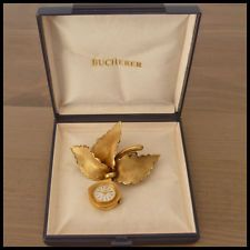 "BUCHERER Swiss Antique Ladies Brooch Cocktail Gold-Plated Watch & Original Box - ""Wonderful condition ladies coctail brooch watch in its original box."""