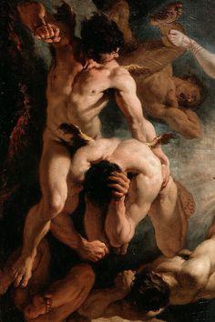 'La caída de los ángeles rebeldes', Luca Giordano,Sebastiano Ricci / arte, pintura, cuerpos, masculino, hombre