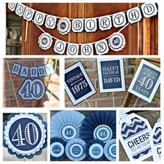 40th Birthday party decorations. Masculine navy blue and grey 5 piece party box. Fully assembled and customizable. by CharmingTouchParties on Etsy