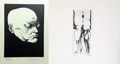 """Set of 2 Lithograph By Leonard Baskin Realised Price: $125 Unverified Estimated Price: $200 - $400 Description: Human anatomy part, Blake death masque  Condition Report: Good. Signed on plate & in pencil. Artist Proof. / Good. Signed & numbered 35/90. Dimensions: 14 1/8"""" x 10 3/4"""", 13 1/2""""x11"""" Artist or Maker: Leonard Baskin Medium: Etching & Lithograph"""