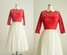 vintage 1950s dress / lace and chiffon party dress / extra small / Saint Valentine Dress