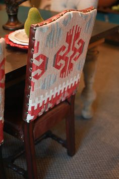 Abode Fine Living | industrial dining table | industrial | dining room table | aztec chair | aztec print | red | blue | pop of color
