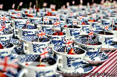 We love a good old cup of tea! Why not present strawberries or the dessert in teacups to your thoroughly british guests! Tie The Knot Wedding, Red Wedding, Wedding Day, Wedding Things, Mom Dad Anniversary, Village Fete, Vintage Crockery, British Wedding, Wedding Party Favors