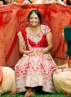 Traditional red bridal lengha