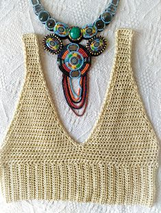 **Beautiful Handmade Cotton Crop Top **Ready for SUMMER with unique crocheted item JUST FOR YOU! **Crop Top is made from HIGH QUALITY 100% cotton yarn, totaly UNIQUE with original pattern! **All items can be customized in varieties of colors and sizes! **Crochet items are very