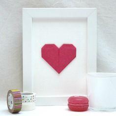 Affichette - cœur en origami - rose framboise uni – collection « mon cœur, mon amour »