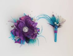 Blue Wrist Corsages for Prom   teal corsage and boutonniere for prom   Prom Wrist Corsage with