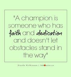 "Nicole Wilkinson ""A champion"" Quote"