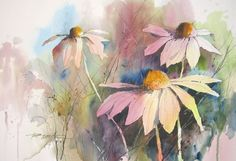 Paul A. Taylor Cone Flowers, original watercolor, Love the technique!