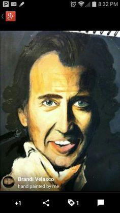 Nicolas Cage acrylic portrait by Brandi Solimanpoor 813-412-0866
