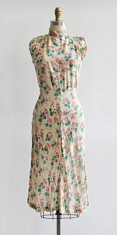 vintage 1930s silk cheongsam inspired floral print dress / Adored Vintage