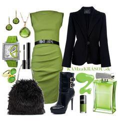 Zelené šaty v kombinácii s čiernou #kamzakrasou #sexi #love #jeans #clothes #coat #shoes #fashion #style #outfit #heels #bags #treasure #blouses #dress