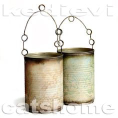 Tin can votive holders. Shabby Vintage, Creative Crafts, Diy Crafts, Decoupage, Soda Can Crafts, Tin Can Art, Altered Tins, Dog Sculpture, Vintage Colors