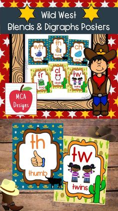 This set of western themed blend and digraph posters are part of my Wild West Classroom Décor collection. Each poster is accented with bright colors and western graphics! #teacherspayteachers #tpt #classroommanagement #digraphs #phonics #reading Classroom Décor, 1st Grade Activities, Blends And Digraphs, Phonics Reading, Wild West, Bright Colors, Literacy, Kindergarten, Presents